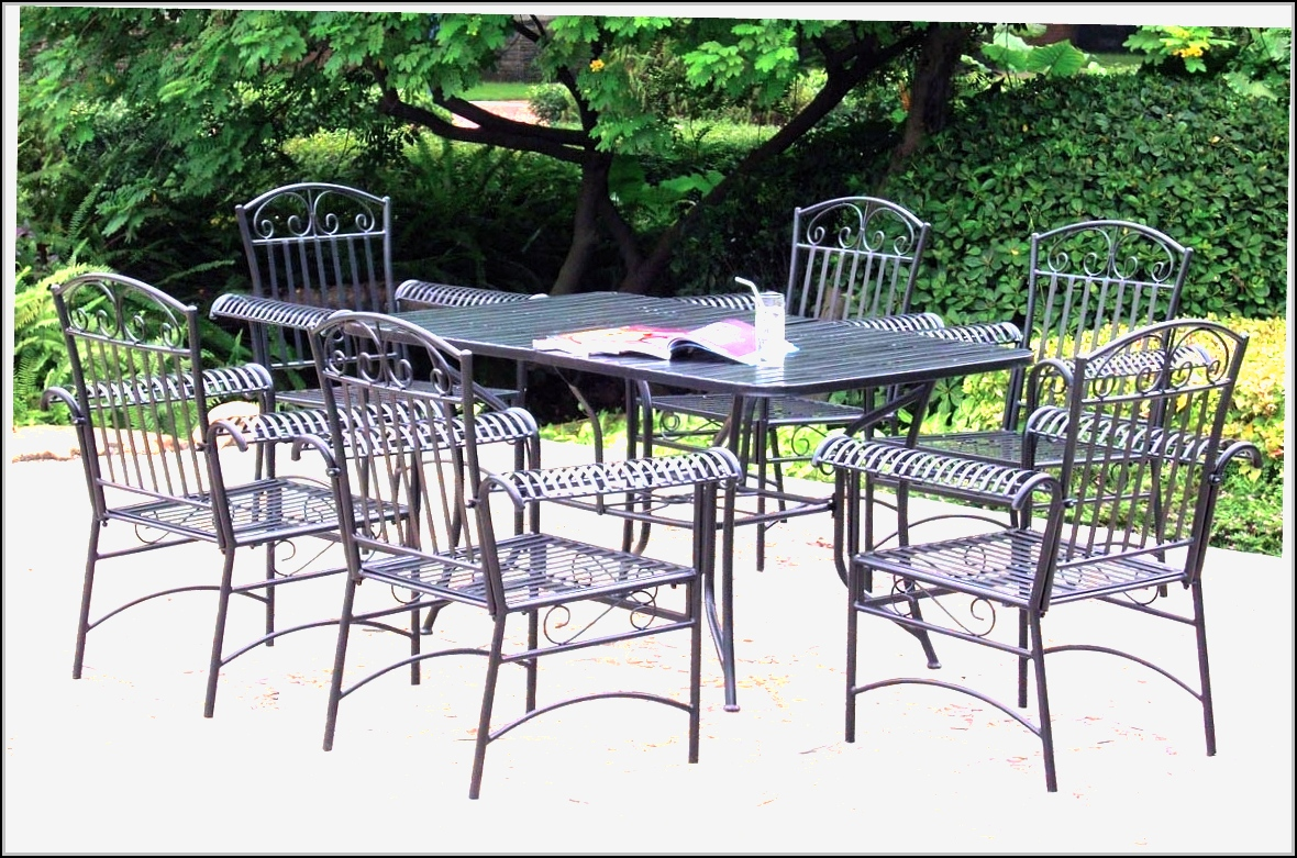 Black wrought iron patio furniture patios home design for Wrought iron furniture