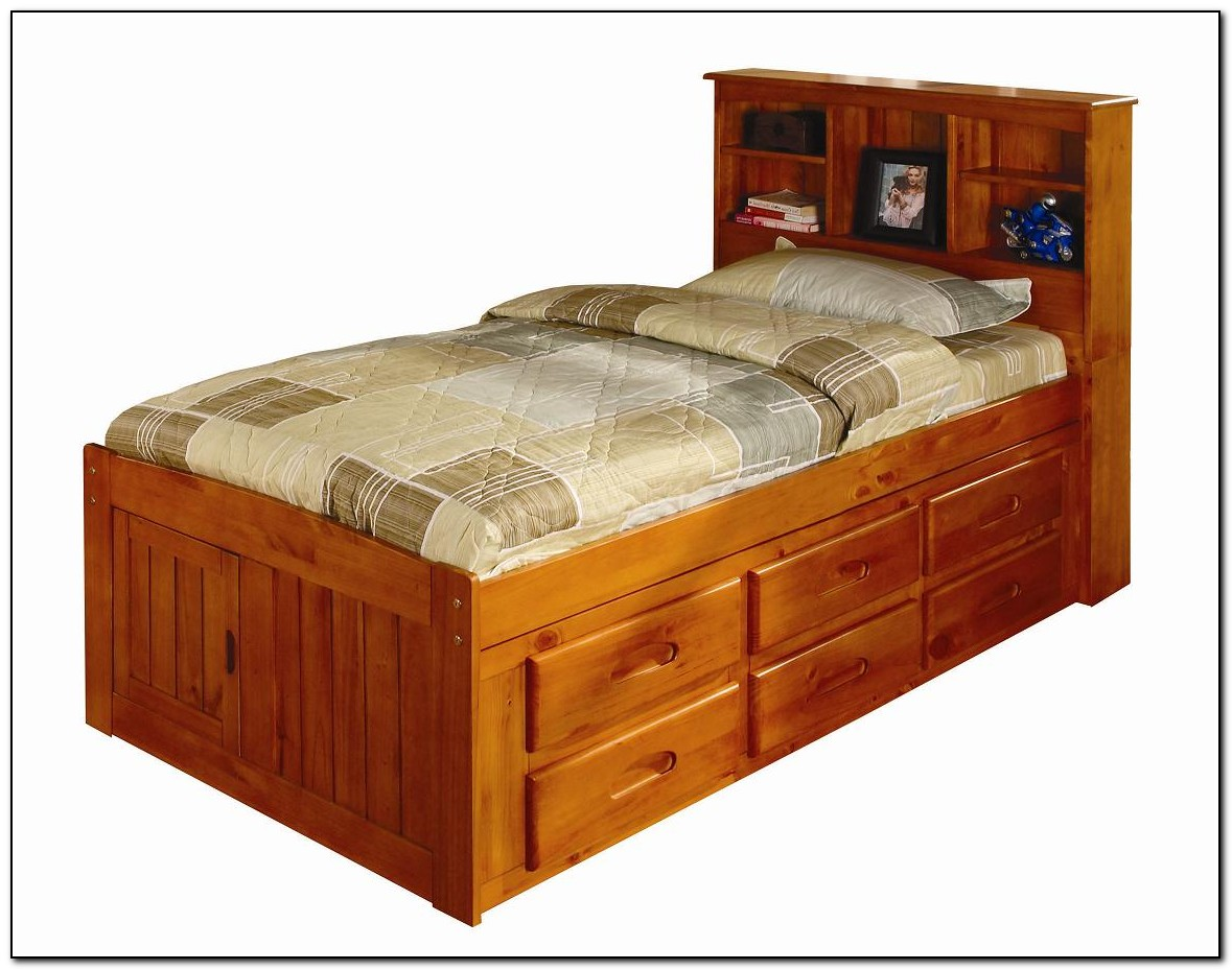 Captains bed twin size beds home design ideas for Affordable bedroom furniture canada