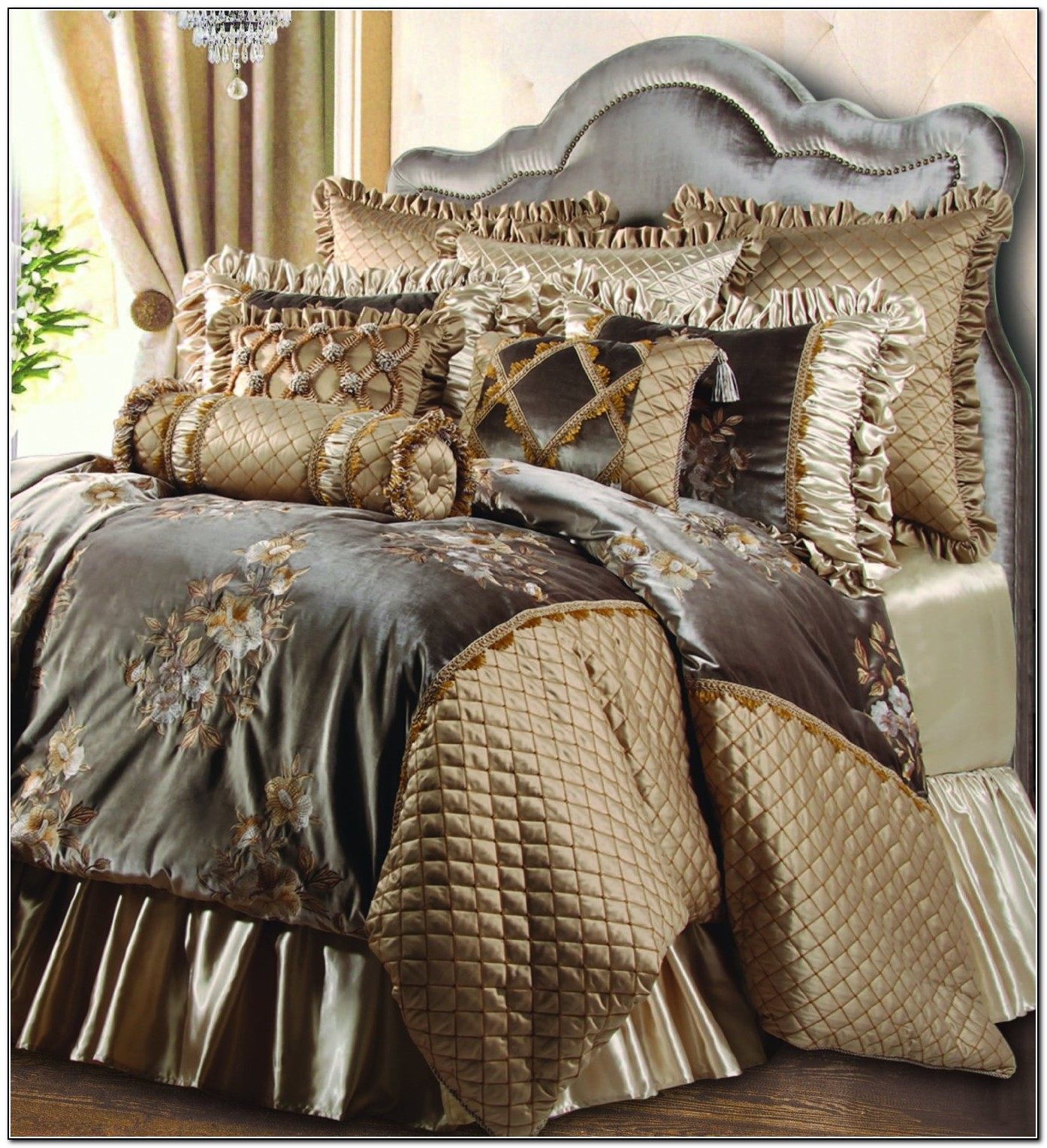 Full luxury bedding sets beds home design ideas - Complete bedroom sets with curtains ...