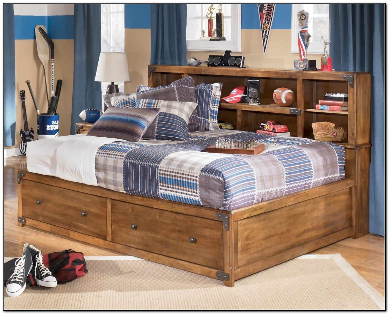 Twin Bed With Storage And Bookcase Headboard