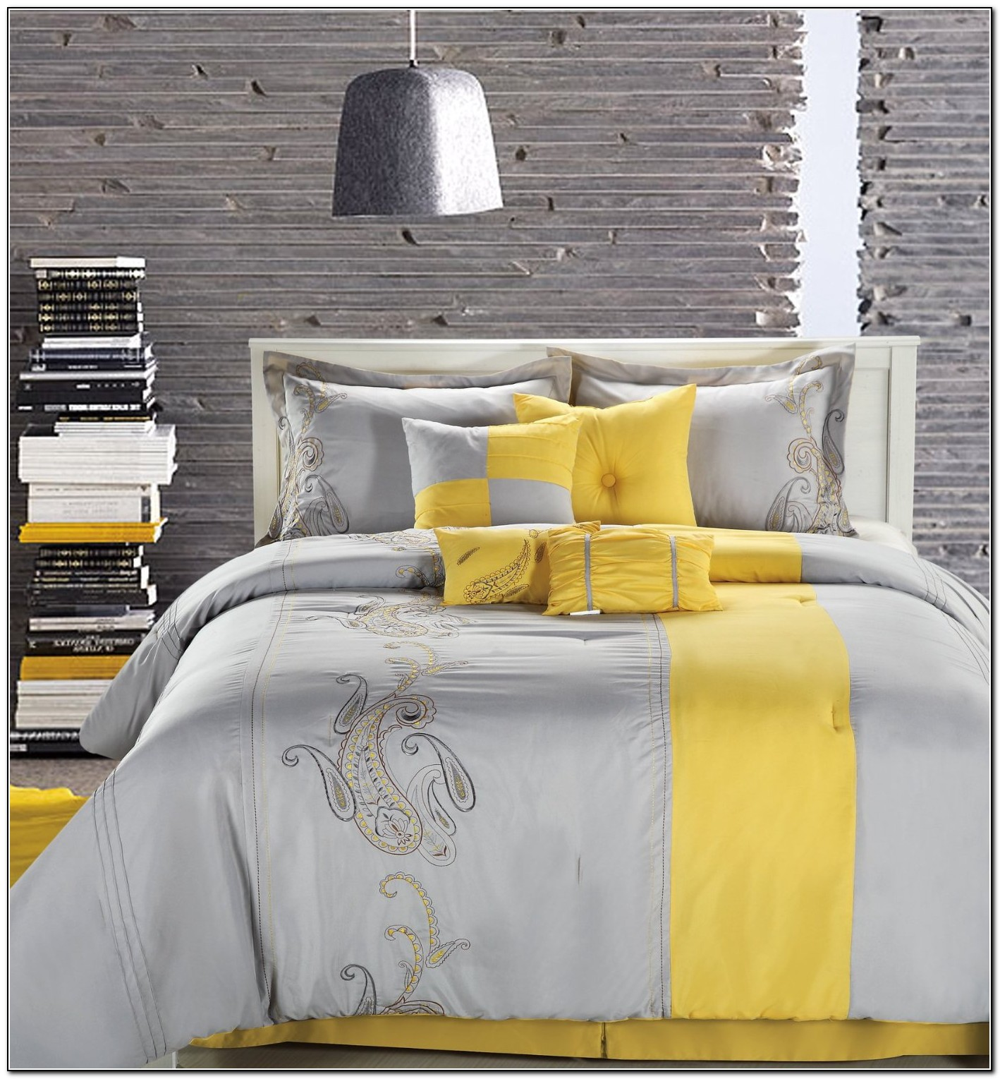 cheerful gray bedding.  yellow bed AOL Image Search Results