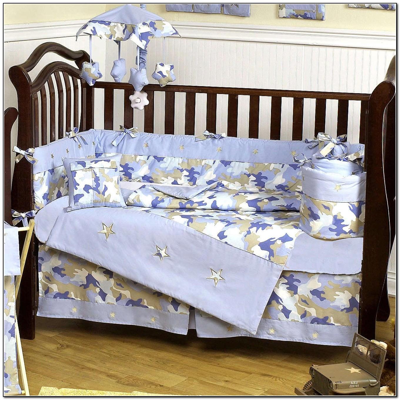 Blue Camo Crib Bedding