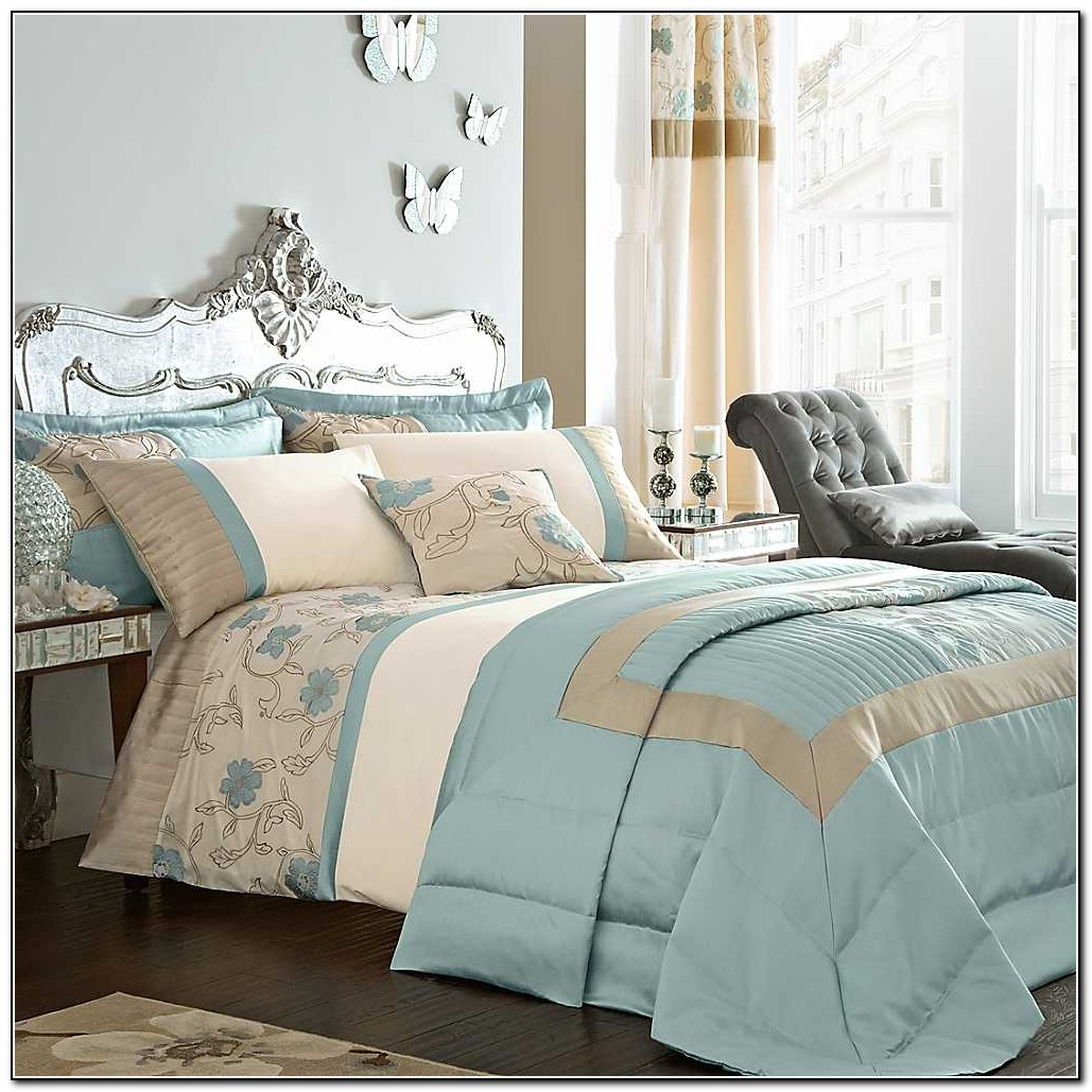 Duck Egg Blue And Brown Bedding