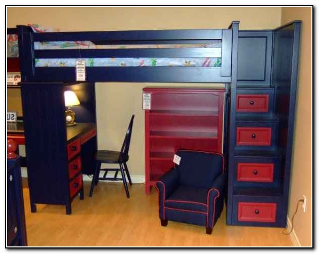 Full Size Loft Bed With Desk And Stairs
