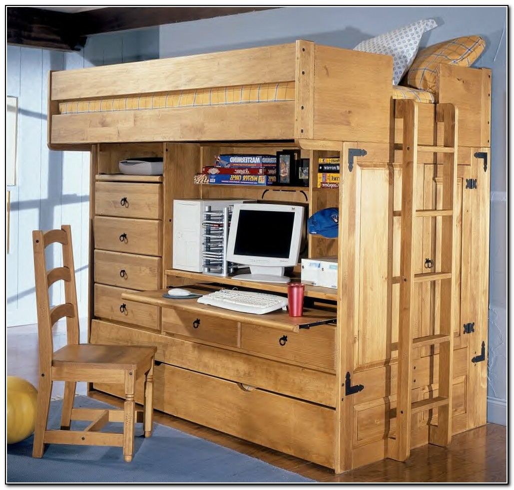 Full Size Loft Bed With Desk And Storage