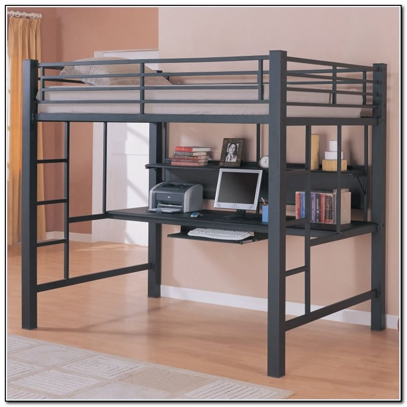 Full size loft bed with desk ikea beds home design for Full size bed ikea