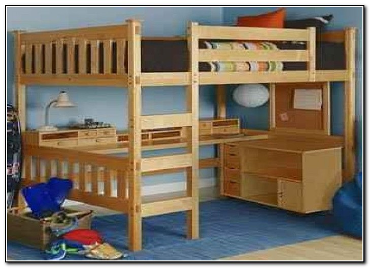 Queen Bunk Bed With Desk Underneath