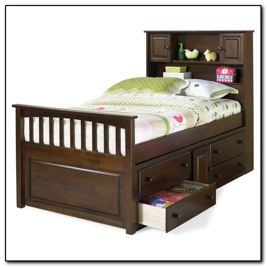 Twin Bed With Drawers And Bookcase Headboard