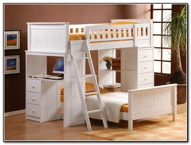 White Loft Beds With Desk