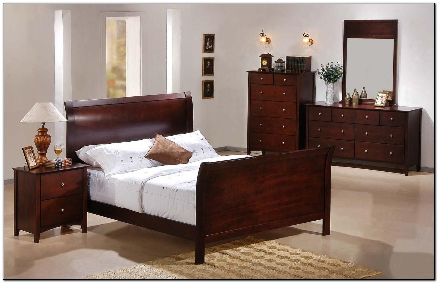 King Sleigh Bed Leather Headboard