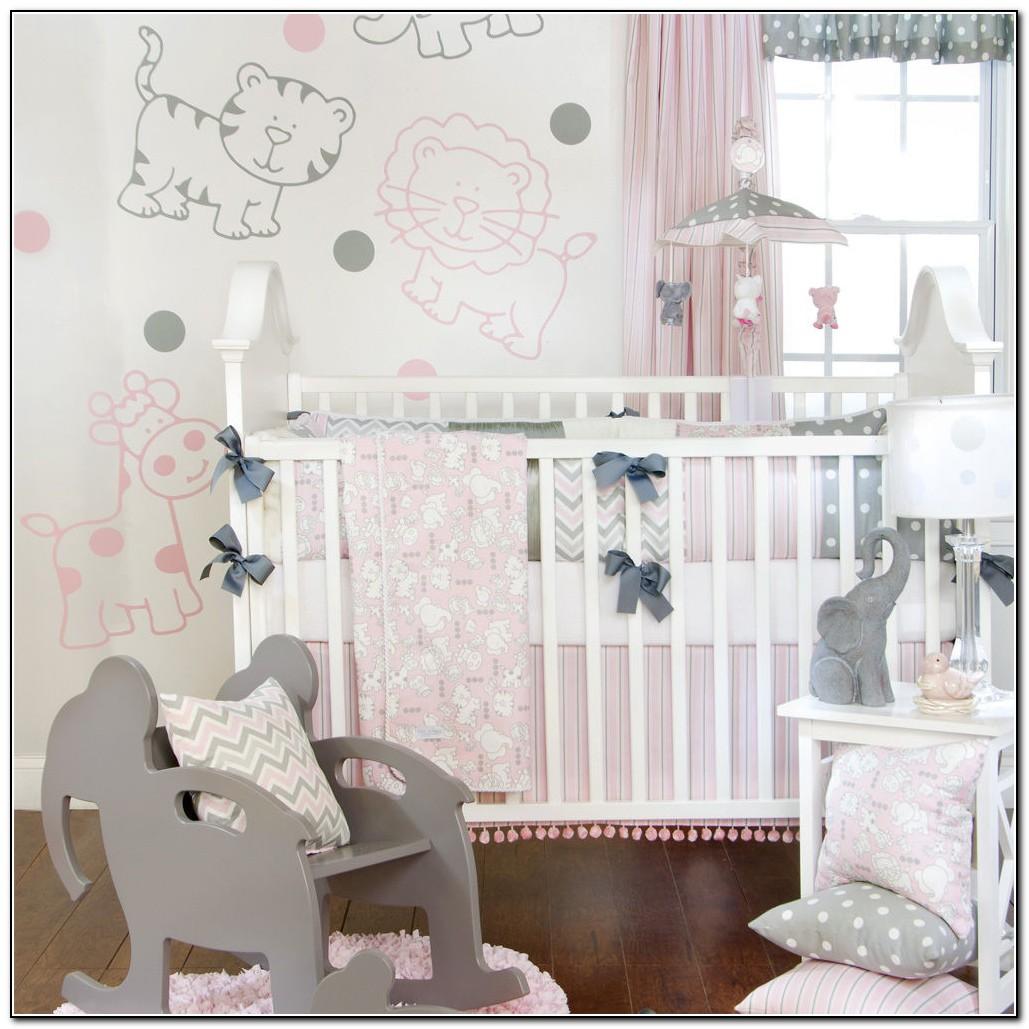 Pink And Grey Elephant Crib Bedding