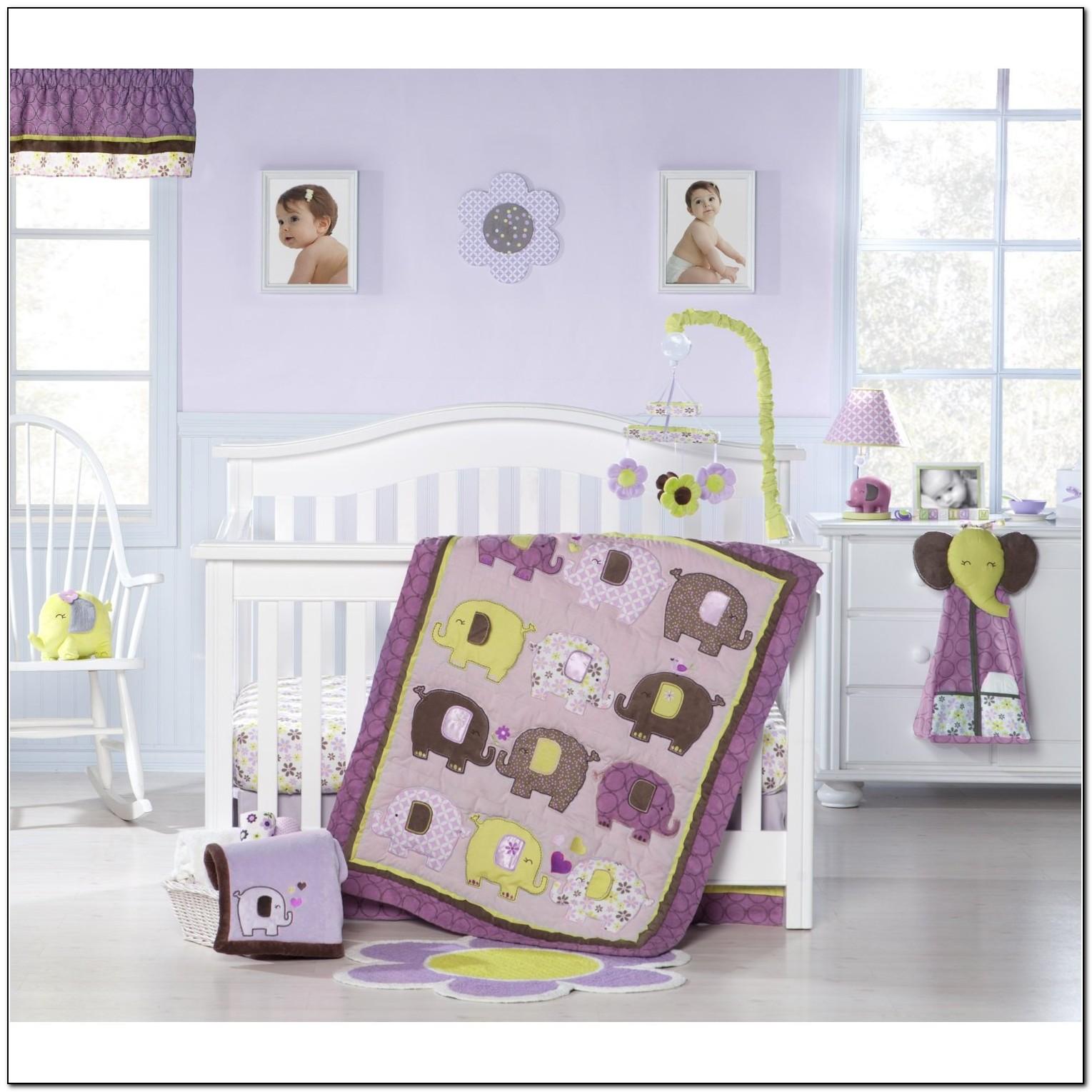 Purple Elephant Crib Bedding