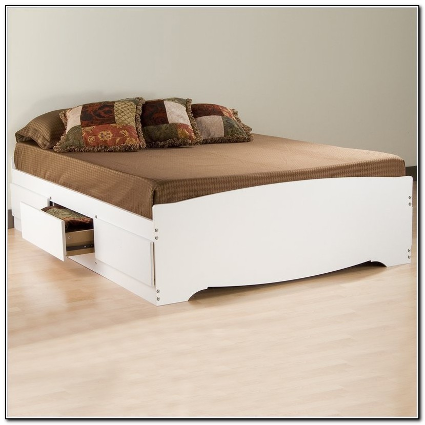 Queen Size Platform Bed Frame With Storage