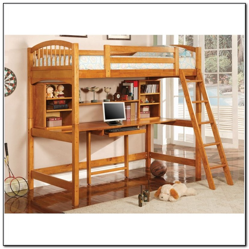 Twin Loft Bed With Desk Wood