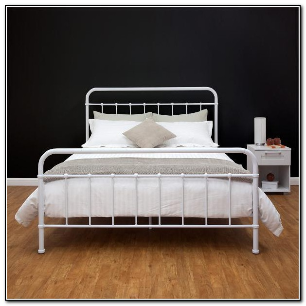 White Metal Bed Frame Queen