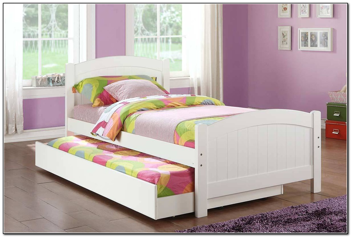 White Queen Bed With Trundle