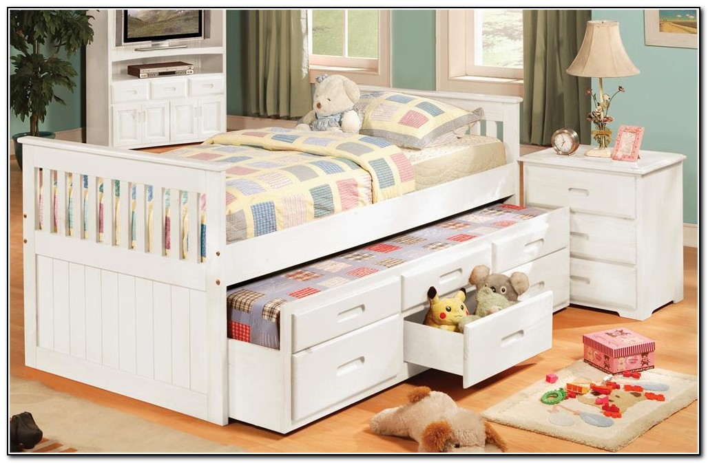White Trundle Bed With Drawers