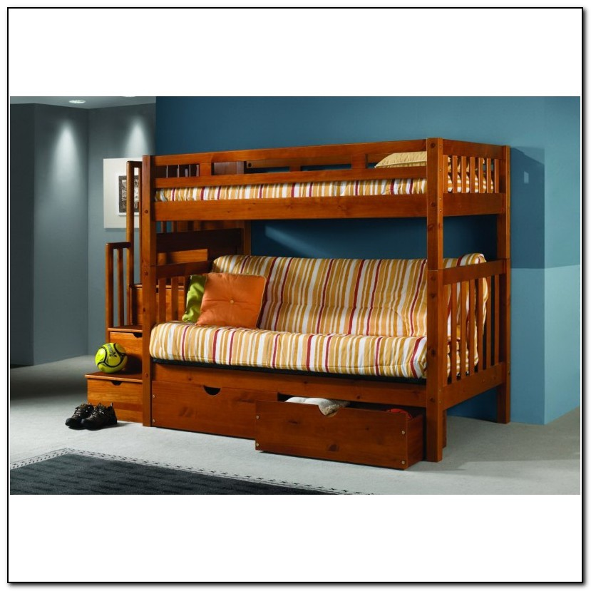 Wooden Bunk Bed With Futon