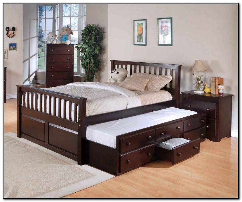 Captains bed full with trundle beds home design ideas Captains bed full