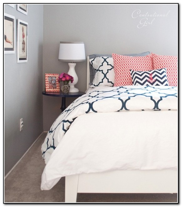 Coral And Navy Blue Bedding