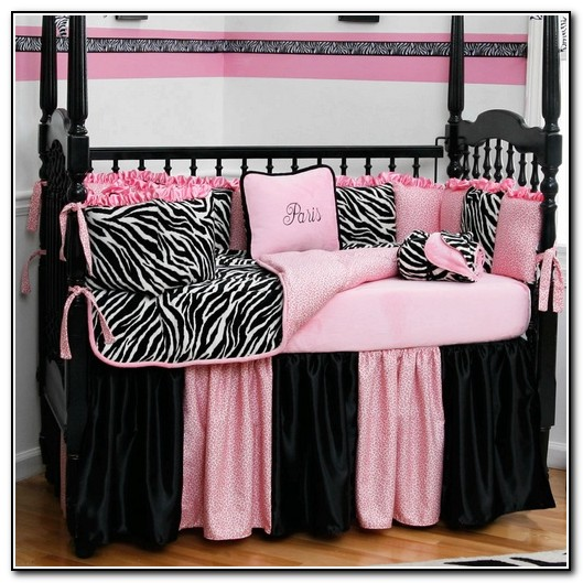 Pink Zebra Crib Bedding